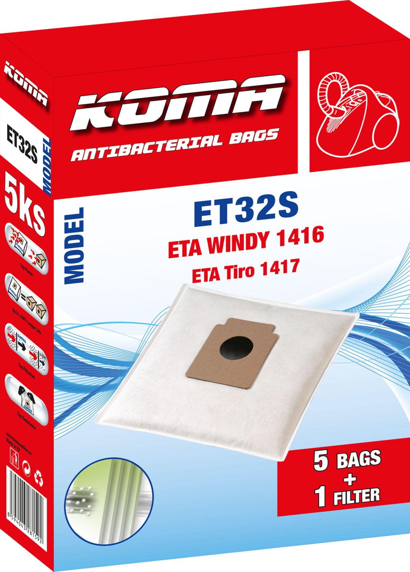 KOMA sáčky ETA Windy 1417 textilní 5 ks + 1 mikrofiltr Balení: Balení v PET sáčku