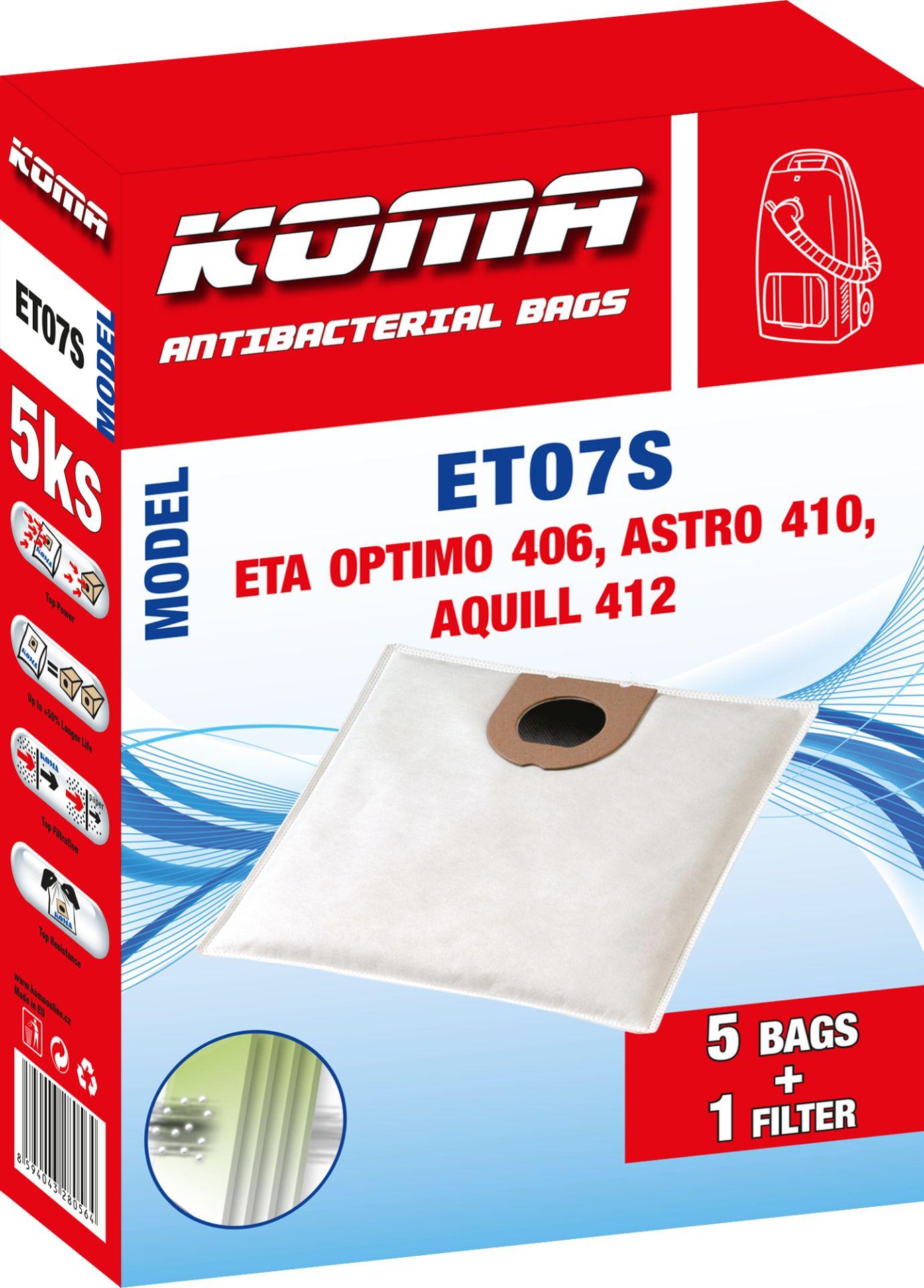 KOMA sáčky ETA Optimo 1406, Astro 1410, Aquill 1412 textilní, 5ks+mikrofiltr Balení: Balení v krabičce