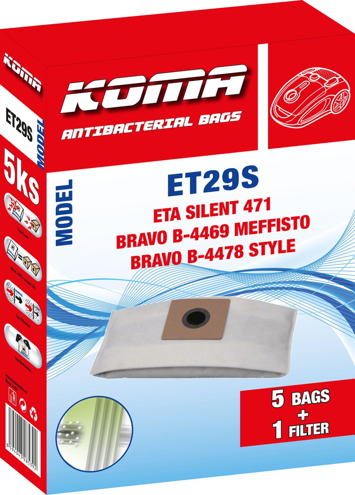 KOMA sáčky ETA Silent 1471 textilní 5 ks + 1 mikrofiltr